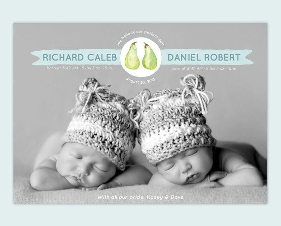 Twin Baby Announcement Pear Design - The Perfect Pair -  by Leveret Paperie