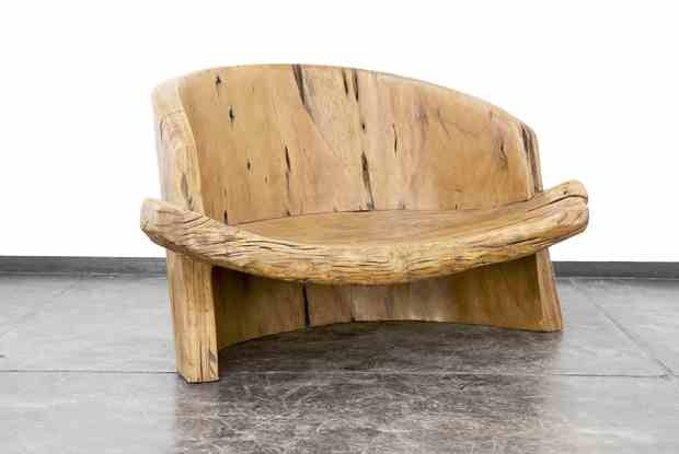 Gorgeous wooden bench from Brazilian artist and craftsman
