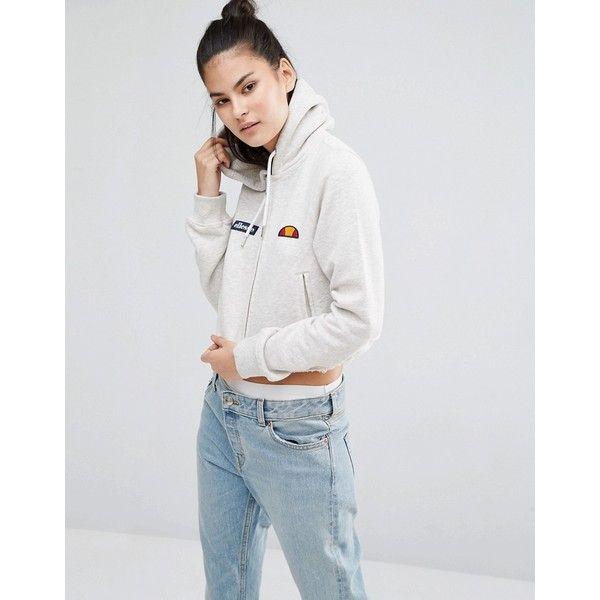Ellesse Crop Zip Hoodie With Woven Logo Badges & Raw Hem ($49) ❤ liked on Polyvore featuring tops, hoodies, cream, logo hoodies, hooded zip sweatshirt, logo hoodie, hoodie crop top and zipper hoodies