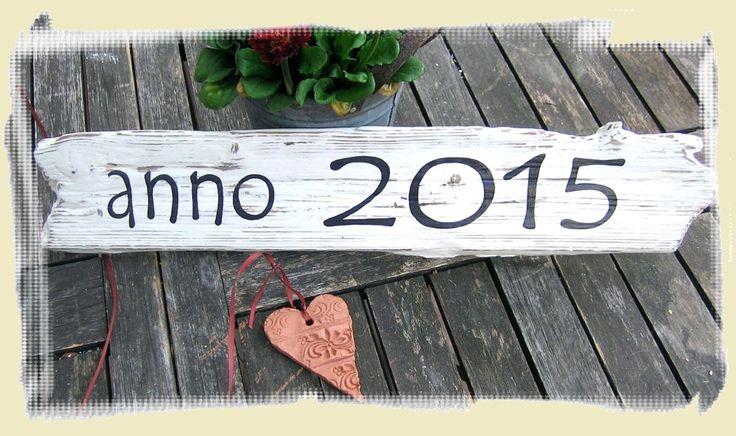 ANNO + JAHRESZAHL Ein ausgefallenes Türschild aus Holz in altem Kleid.  Zum Richtfest oder zum Einzug ins Eigenheim.  (individualisierbar: Farbe + Jahreszahl)