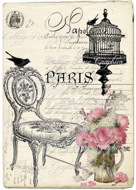 French chair digital download bird cage paris pink roses