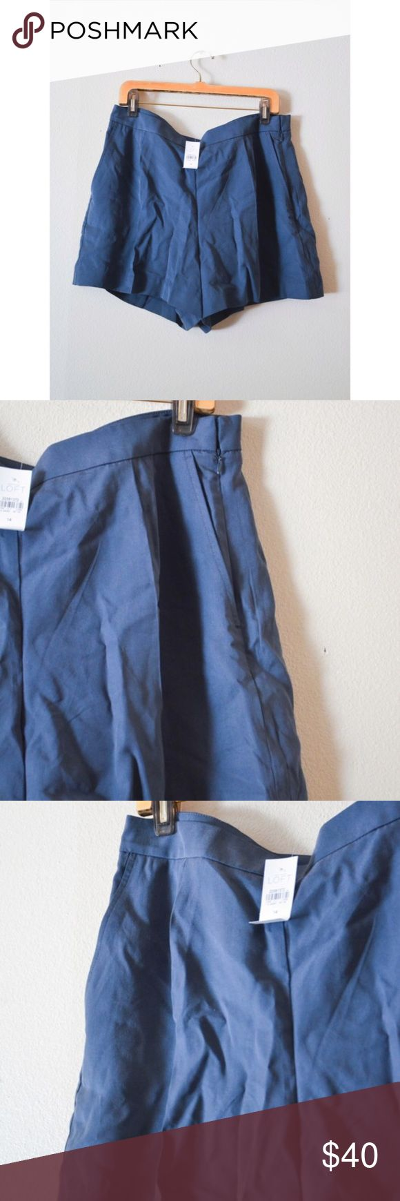 NWT LOFT navy blue high waist shorts -- size 14 -- new with tags -- high waist fit -- flared leg fit -- no swaps LOFT Shorts