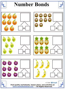 fruit number bonds worksheets