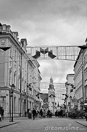 Cracow krakow, Poland. Grodzka street in the centre of Cracow, monochrome image. Heritage historic buildings.