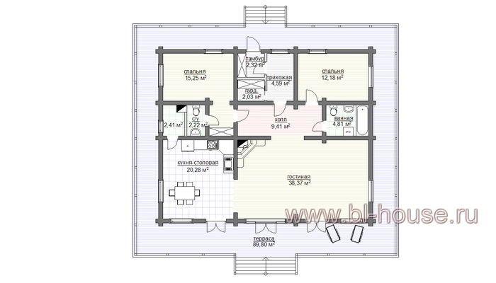 Проект H-100 Швейцарское шале деревянного дома :: Готовые проекты домов :: Интернет-магазин bl-house.ru