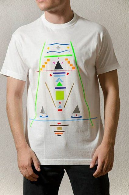 Cotton White T-Shirt Design : Aztec