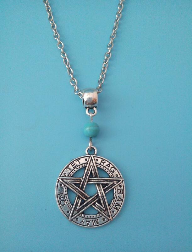 Античная тибетский серебряный пентакль пентаграмма подвеска бирюзовый античная посеребренная ожерелье языческих шаманство 10 шт.