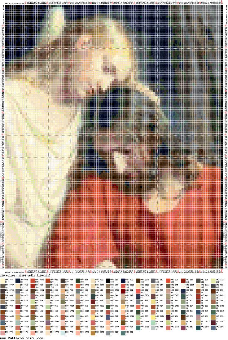 Patrón para punto de cruz - Jesús consolado por el ángel