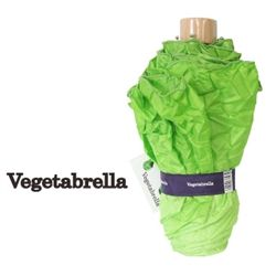 The VEGETABRELLA - an umbrella designed in Japan that looks like the head of a romaine lettuce.