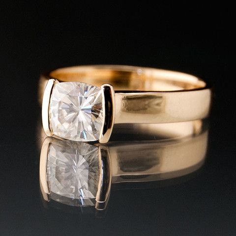 Cushion Moissanite Ring Modified Tension Solitaire Gold Engagement Ring   Nodeform