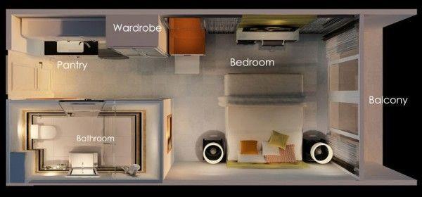 Studio Apartment Floor Plan Ideas: 一室公寓樓層平面圖