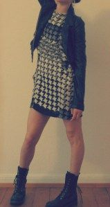 Optical Dress, Combats and Faux Leather Jacket ;)!