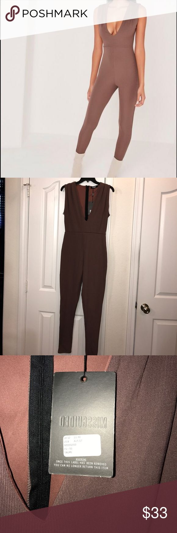 NWT! Missguided taupe jumpsuit sz 8 US NWT! Gorgeous Missguided taupe brown jumpsuit sz US 8. Excellent condition 😍 no stains or rips. 95%polyester 5%elastane. Stretchy material. Missguided Pants Jumpsuits & Rompers