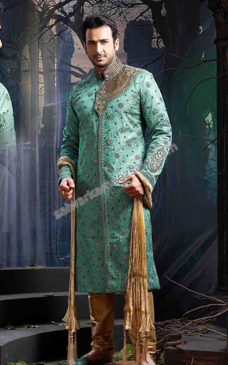 Men's ethnic wear for weddings is also jeweled and houses intricate delicate patterns.
