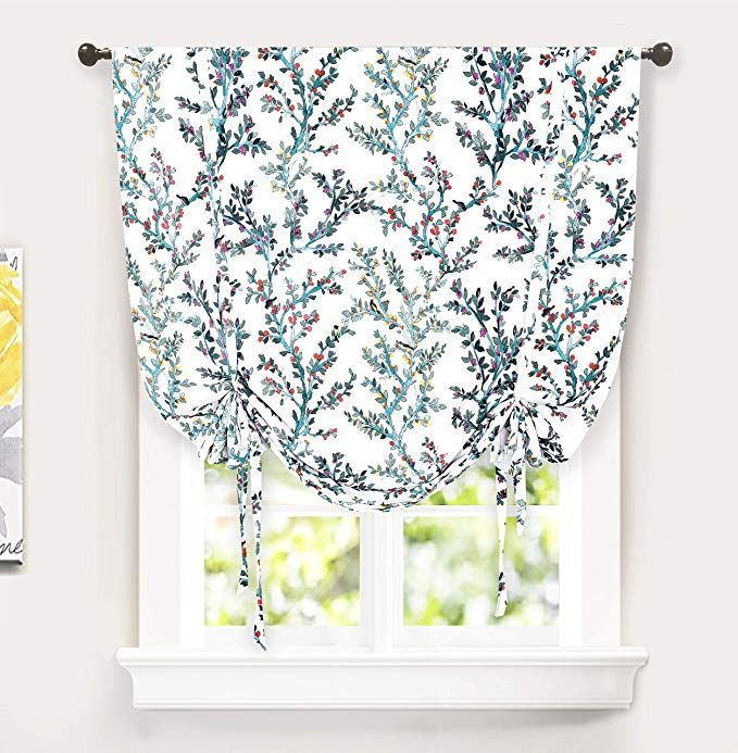 Amazon Com Driftaway Jasmine Tie Up Watercolor Branch Botanical Lined Thermal Insulated Room Darkening Energy S Tie Up Shades Balloon Curtains Tie Up Curtains