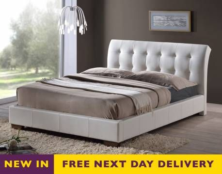 boston 4ft6 double white faux leather bed frame