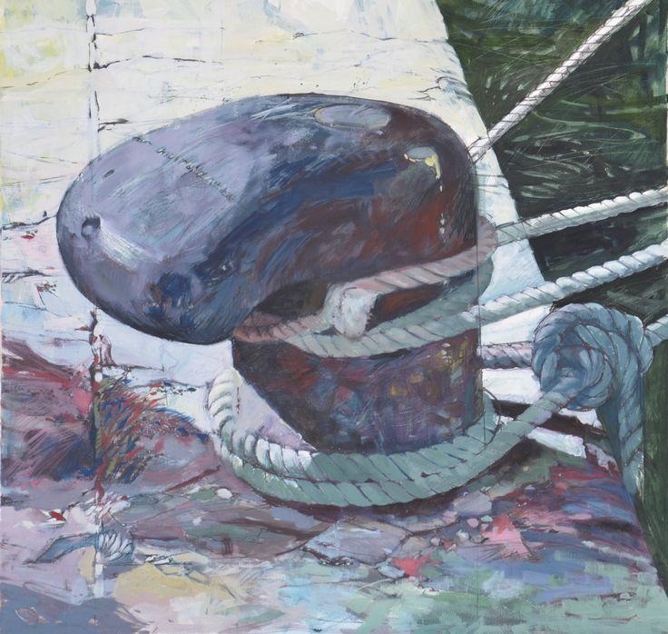 oil on canvas-1250 x 1250- bollard 4 ropes- Croatia