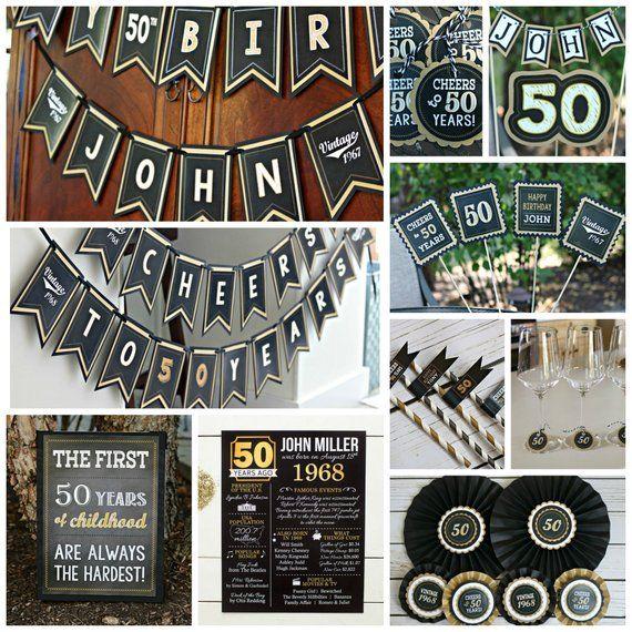 BLACK and GOLD Milestone Birthday Party Decorations Adult Birthday Decor 50th Birthday Party Package