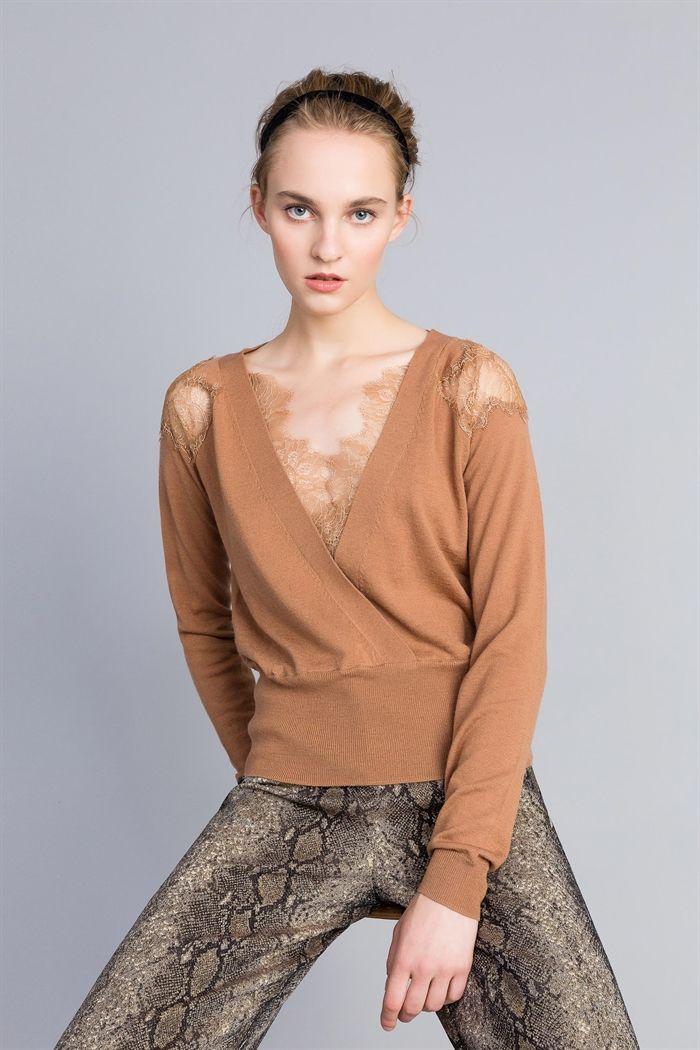 60fb8e9c8181 TWINSET    Maglie e cardigan - Twinset    Maglia in misto lana con intarsi  in pizzo    PA83AC
