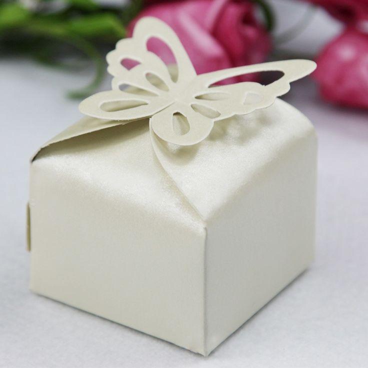 50 stuks vlinder feest bruiloft snoep doos diy vouwen valentijnsdag geschenk papier gunst dozen witte/roze