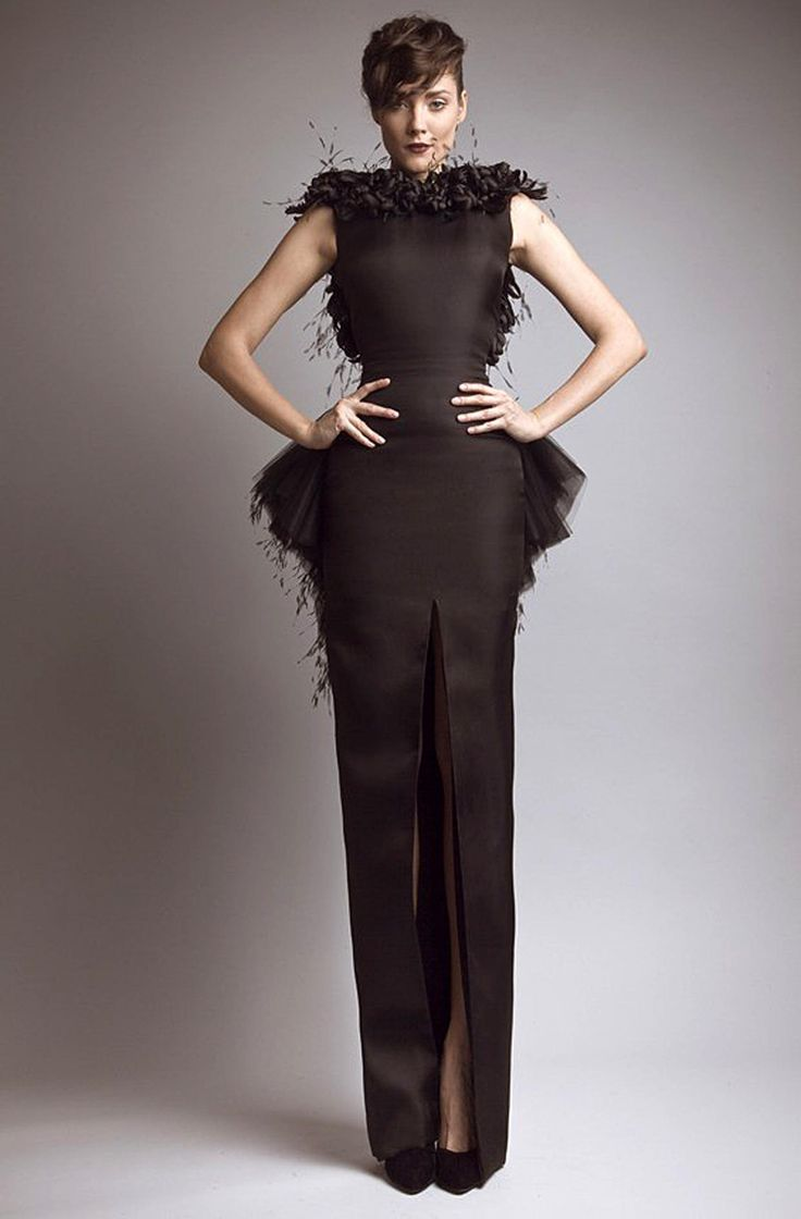 Black Backless Peplum High Slit Feather Embellished Gown @ DHgate $245