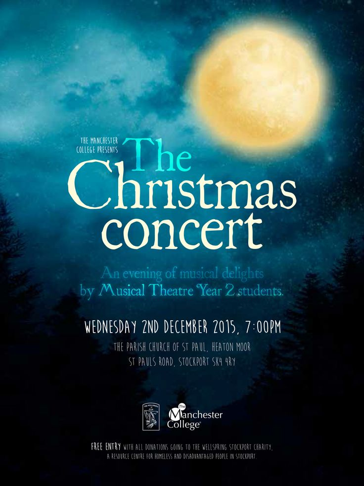 Poster for The Christmas Concert production.  Designed by Sarah Cleworth