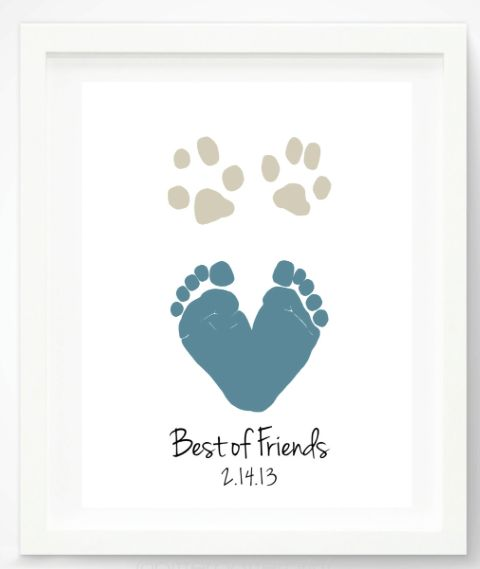 Dog Mom Mother's Day Gifts for Her:  Best of Friends Dog Paw Print and Baby Foot Print Personalized Artwork Print by Pitter Patter Print ...