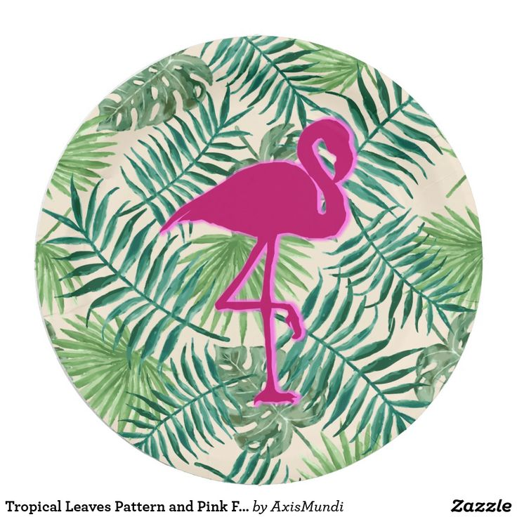 Tropical Leaves Pattern and Pink Flamingo Paper Plate
