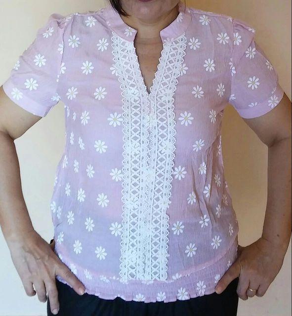 Tienda Online Nuevas Mujeres de Las Blusas de Manga Corta de Verano de Algodón de Lino Floral de La Moda Suéter de Las Señoras Tops Camisa Femenina V-cuello de la Ropa Para Las Muchachas | Aliexpress móvil