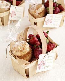 Wooden berry basket wedding favors.