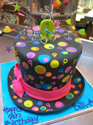 3D Top hat shaped cake covered in black fondant decorated with fondant polka dots & 3D
