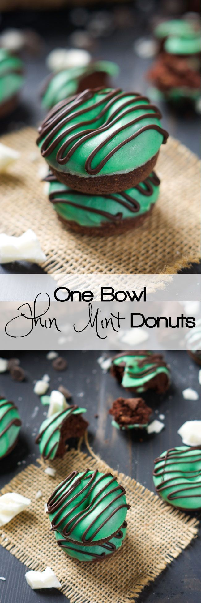 Your favorite Girl Scout Cookie just took over breakfast in these Mini Thin Mint Donuts! Tender chocolate donuts covered with mint white chocolate icing and a chocolate drizzle!