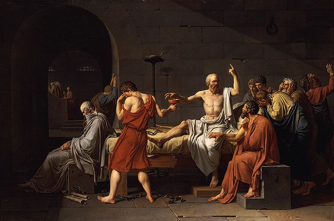 """Plato's, Trial and Death of Socrates    [(Image is """"Death of Socrates,"""" by acques-Louis David (1787)]"""