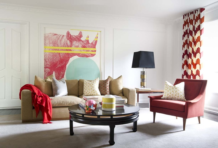 A bold piece of Art becomes a focus in this considered play of colour. @Brett Mickan Interior Design