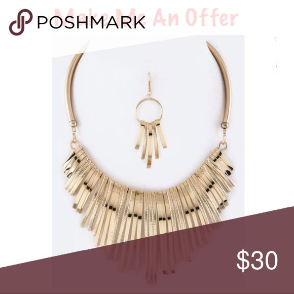 "New!! Fringe Bar Statement Necklace Set Necklace 15"" plus Extension  Earrings 2.75"" Drop New with tags Jewelry Necklaces"