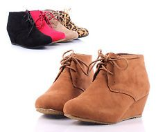 Camel Lace Up Girls Wedge High Heels Kids Ankle Boots Youth Shoes Size 4