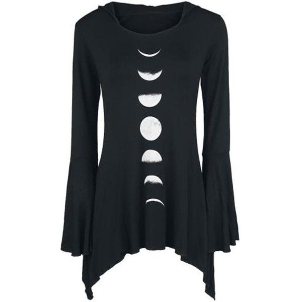 Gothic Wiccan Moon Phases Bell Sleeves Hooded Top ($37) ❤ liked on Polyvore featuring tops, gothic tops, flared sleeve top, hooded top, goth tops and sleeve top