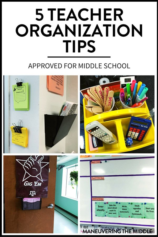 Five great ideas for teacher organization - easy to set up with materials you likely have. Perfect for the middle school classroom. | maneuveringthemiddle.com