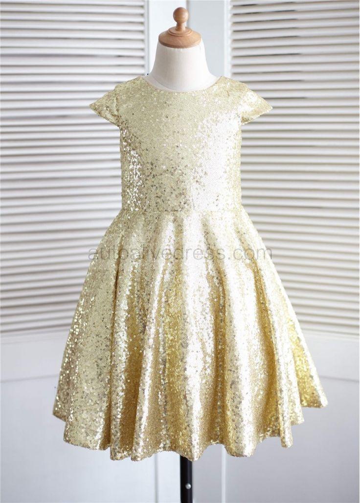 Cap Sleeves Gold Sequin Knee Length Flower Girl Dress