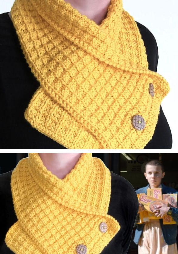 Free Knitting Pattern for Waffle Neck Warmer - Buttoned scarf in waffle stitch inspired by Eleven's love for Eggo waffles in Stranger Things. Designed by Kristen McDonnell