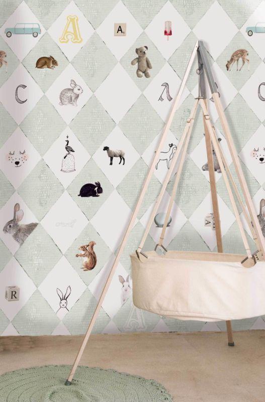 Little OZP 3764 Wieber behang met dieren mintgroen Superleuk voor de babykamer!
