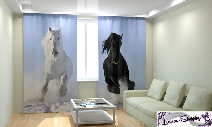 """""""Pferde""""  Luxus 3D Fotodruck Foto Gardinen Vorhang Set 2 Schals Neu"""