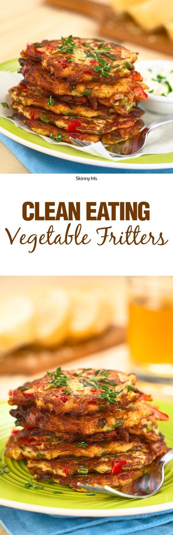 At just 200 calories per serving, these Clean Eating Vegetable Fritters are awesome for lunch or a light dinner. They pack easily too, so bringing them to work is easy!