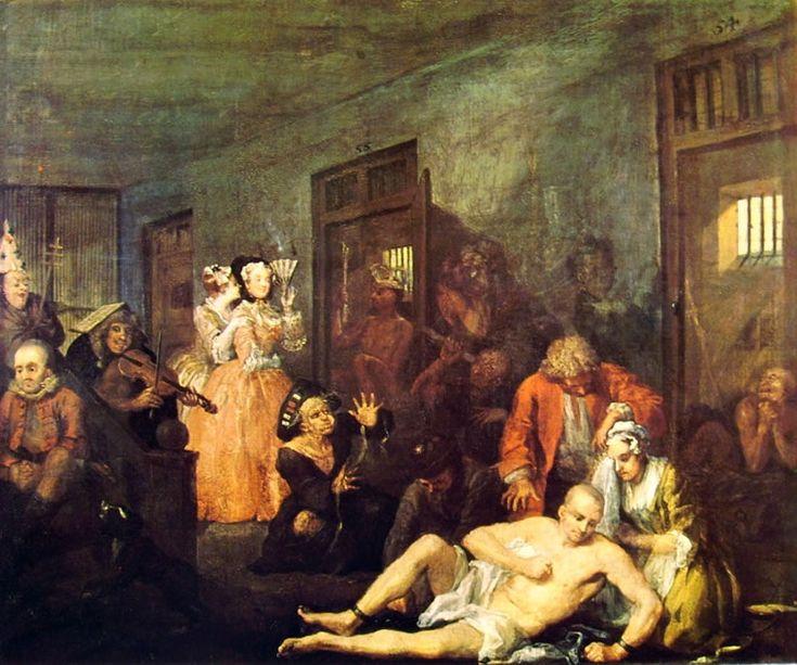 La carriera del Liberino (8) - Il Manicomio,William Hogarth; 1733-35; olio su tela; Soane's Museum, Londra