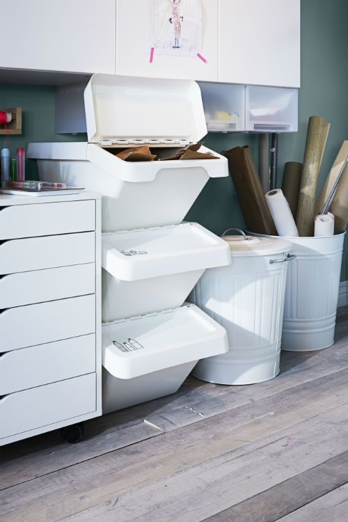 SORTERA Recycling Bin With Lid, White
