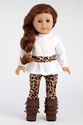 Fashion Safari - Ivory velvet tunic with cheetah leggings and fringed boots - 18 Inch American Girl Doll Clothes