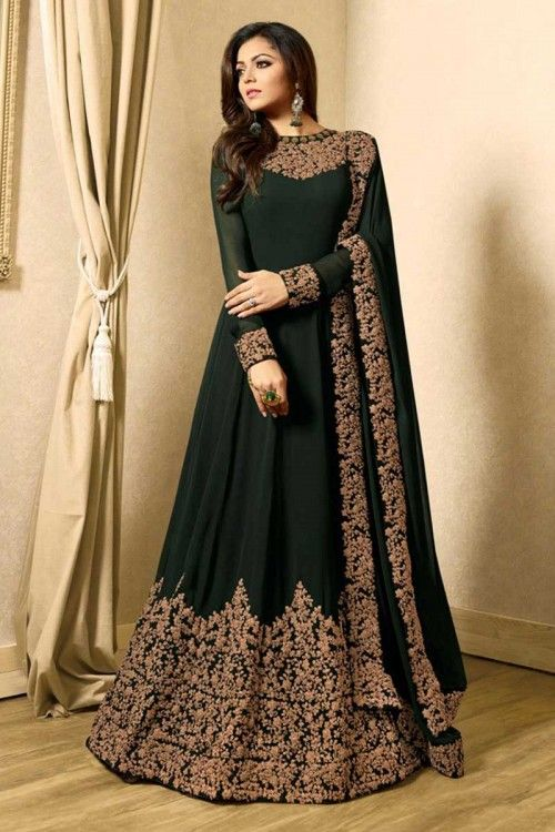 99bff93a23b88 Gorgeous Dark Green Georgette Anarkali Suit With Resham Work ...