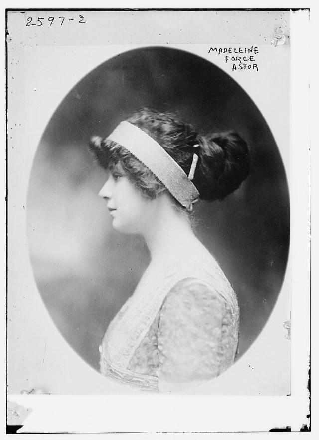 First class passenger, Madeleine Talmage Astor (1893-1940), wife of John Jacob Astor IV (1864-1912), c. 1911.