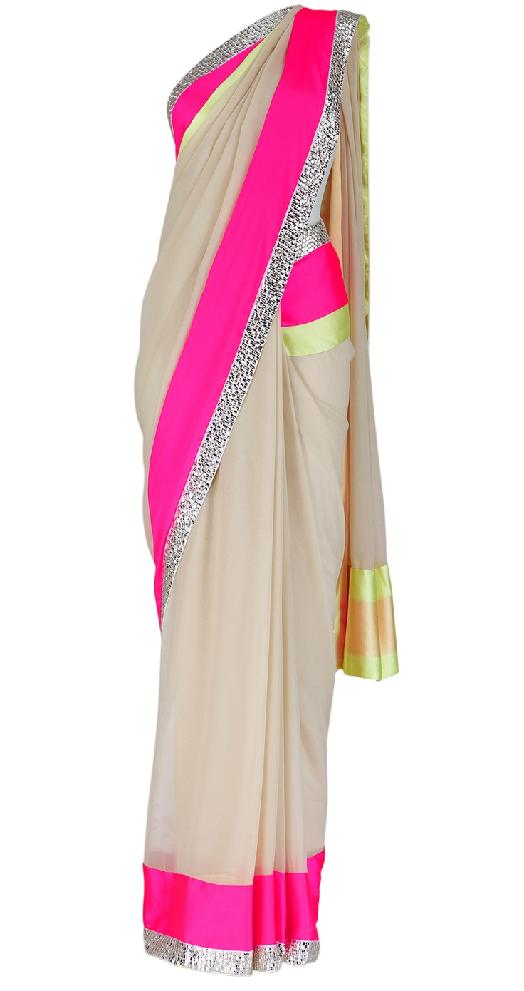ABU JANI AND SANDEEP KHOSLA- Beige georgette saree with pink, lemon and silver gota stripes. It comes with a matching blouse piece.