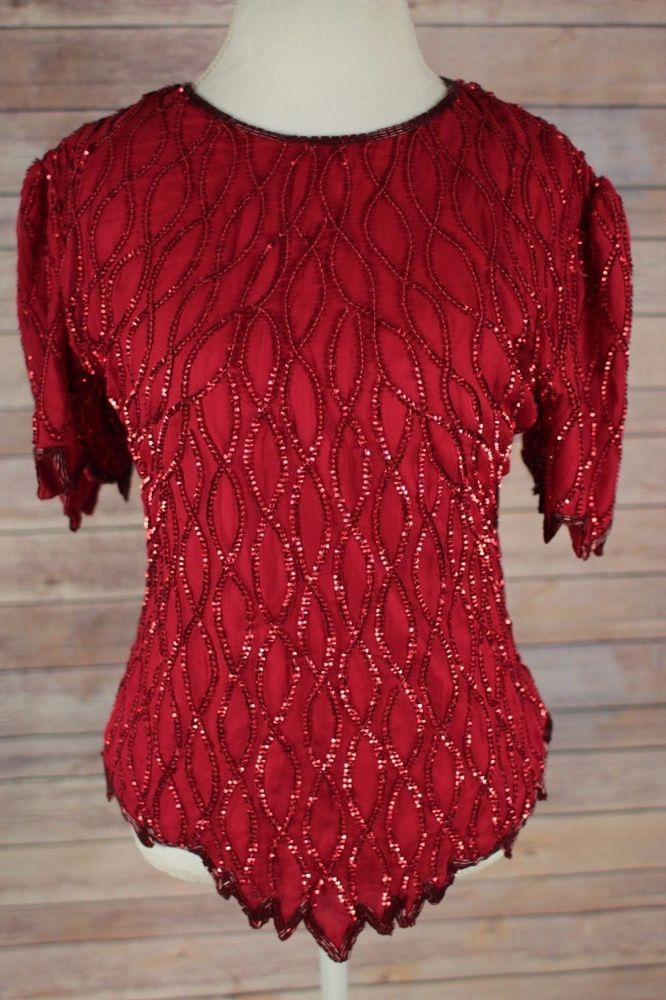 Lawrence Kazar Womens Red Sequence Short Sleeve Shirt Size Large Blouse Zip Up  #LaurenceKazar #Blouse